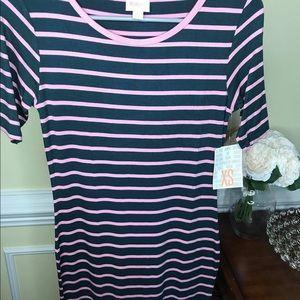 Lularoe Julia Dress XS Dark Teal & Pink Stripe NWT